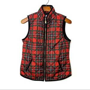 OLD NAVY Plaid Quilted Zip Front Vest Pockets S